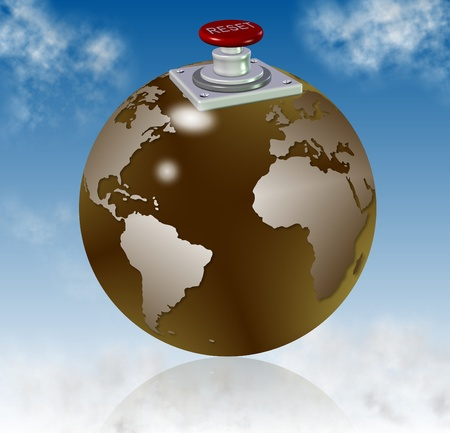 reorganize: earth globe with a reset button on top of it with blue sky in the background Stock Photo