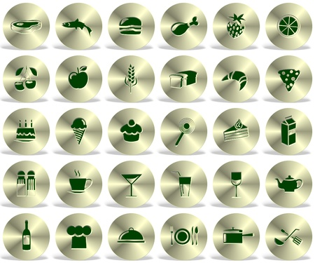 a collection of thirty different food icons on white background photo