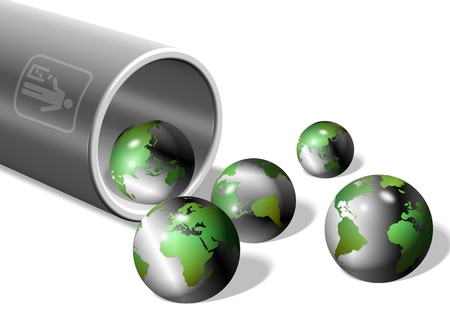 an illustration of a rubbish bin filled with earth globes Stock Illustration - 13884875
