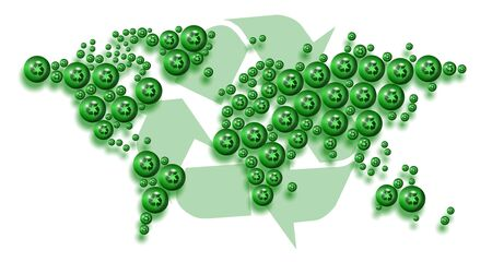 carbon emission: a map of world made of recycle symbols with a big symbol in the background