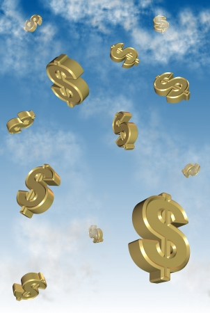 dropping: golden symbols of dollar falling from the sky