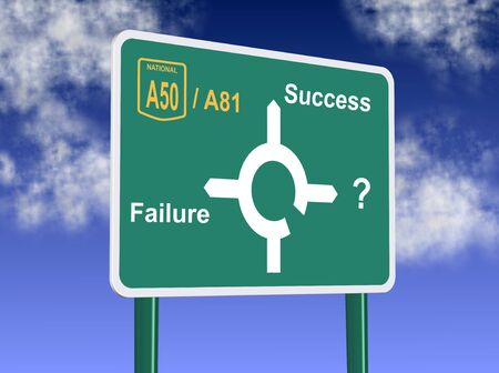 a road sign showing directions to failure and success photo