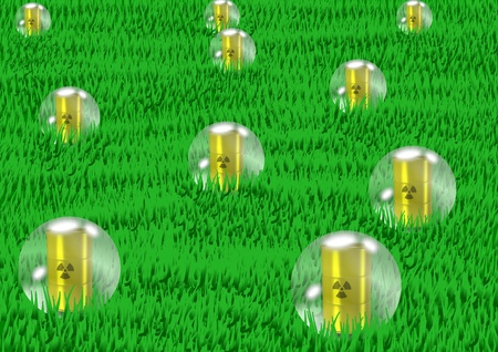 water bubbles lifting from grass with radioactive waste inside them photo