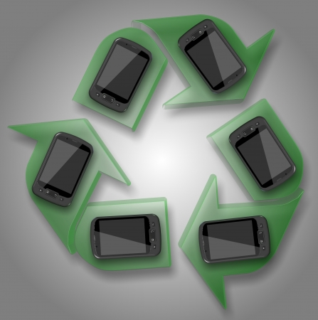 a group of mobile phones forming a recycle symbol photo