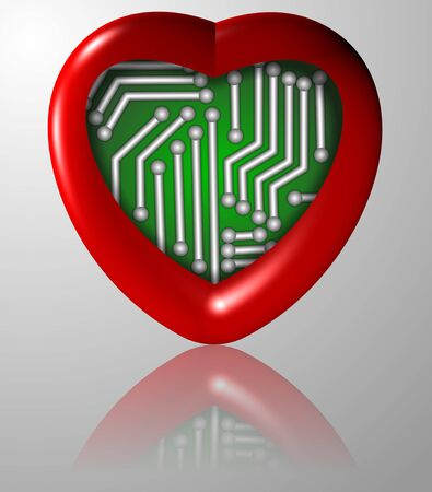 a red heart with an electronic circuit board inside it photo