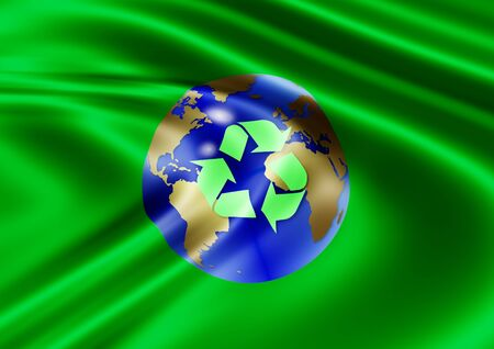 carbon emission: a silky green flag with earth and recycle symbol in the center of it