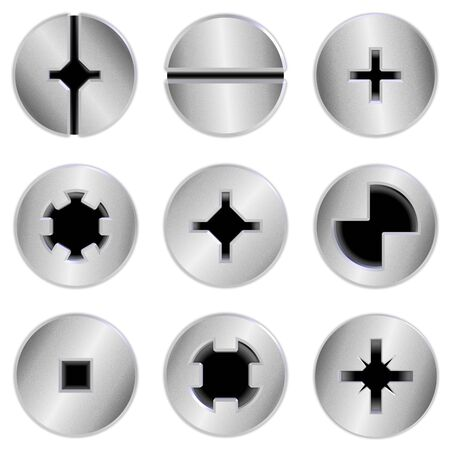screw heads: a collection of nine silver chrome screw heads