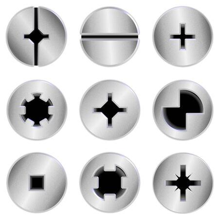 tuercas y tornillos: una colección de nueve cabezas de los tornillos plateados cromo