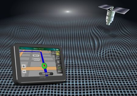 gps device: an abstract illustration of a GPS device and a satellite