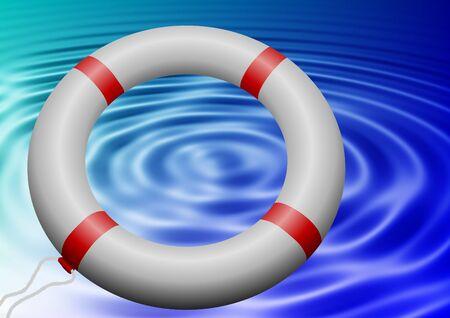 salvavidas: un anillo de salvar la vida volando hacia el agua ondulada azul Foto de archivo