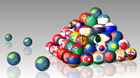 Asian flags in a sphere shape forming a pyramid