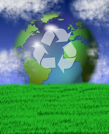 carbon emission: green grass field and blue sky with recycle symbol on earth in the background Stock Photo