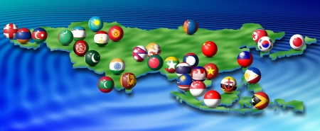 a map of Asia and its flags shaped as spheres