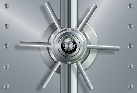 a close up of a shiny steel vault door and combination lock photo