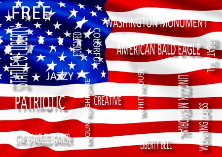 describe: American flag and a group of words that describe USA Stock Photo