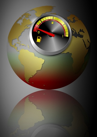 recourses: Earth globe with a fuel indicator showing very low level