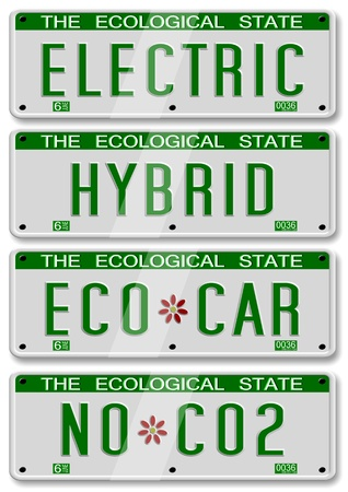 eco car: four different electric and hybrid car number plates Stock Photo