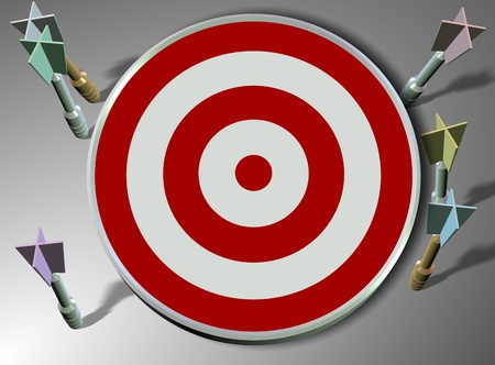 missed: a number of darts all missing red and white target