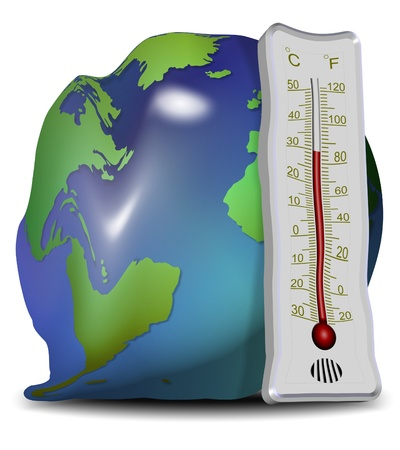 rising temperature: Earth globe and thermometer losing their shapes and melting