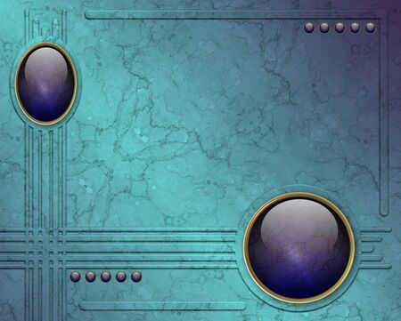 pierres pr�cieuses: deux rondes de pierres pr�cieuses avec un fond de marbre bleu Banque d'images
