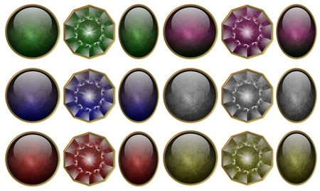 precious stones: a collection of round oval and diamond precious stones shapes in six different colors Stock Photo