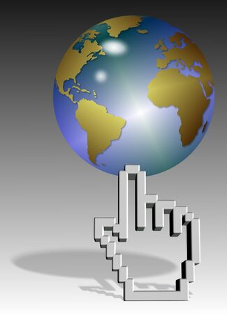 a computer mouse hand pointer cursor holding earth globe Stock Photo - 14602770