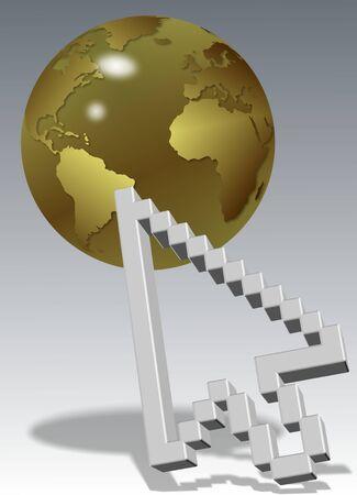 a computer arrow cursor with a golden earth globe Stock Photo - 14697530