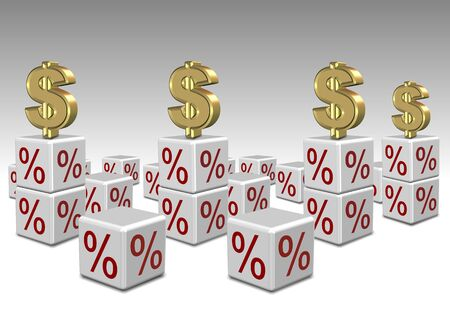 a group of white cubes with percentage symbol in them and dollar symbols on top Stock Photo