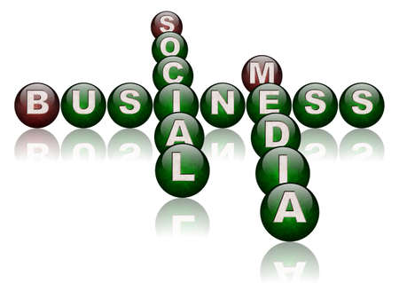 words social media and business arranged as a crossword puzzle photo