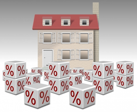 mortgage rates: a group of white cubes with percentage symbol on them and a family home in the background