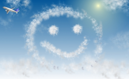 fortunate: a smiley face made from an airplane with a blue sky and clouds in the background