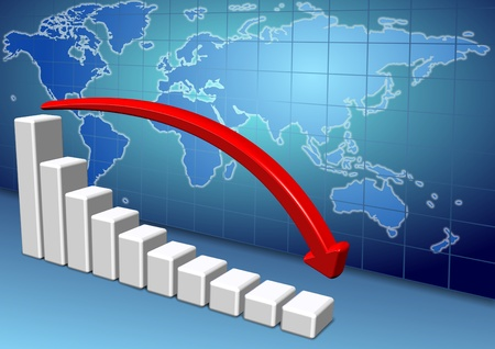 horizontal bar: 3d down chart and red arrow with a map of world in the background Stock Photo