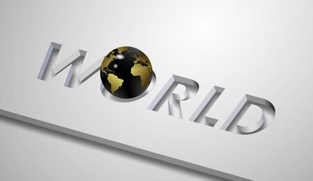 replacing: a word world cut out from white board and earth globe replacing letter O Stock Photo