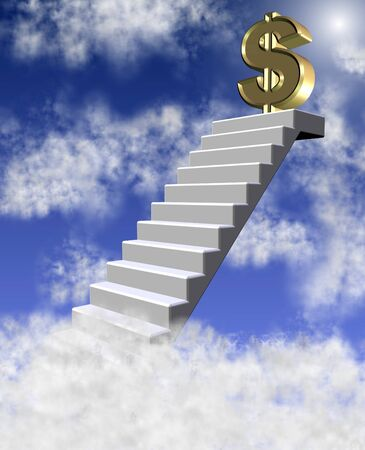 golden dollar symbol on top of a stairway reaching clouds photo