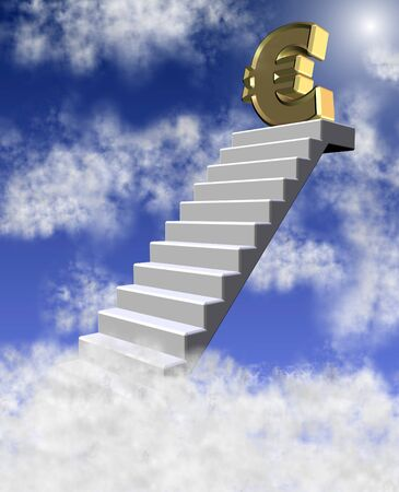 credit union: golden euro symbol on a top of a staircase reaching clouds