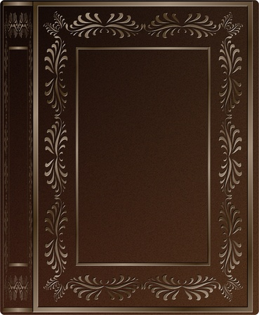 a brown leather hard cover of an old book with engravings Stock Photo