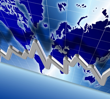3d illustration of a chart and world map in the background Stock Illustration - 14921795