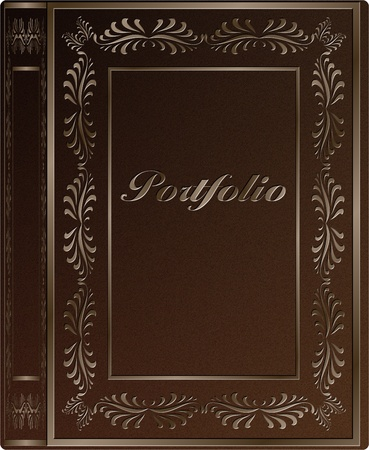 A book hard cover with a word portfolio engraved on it