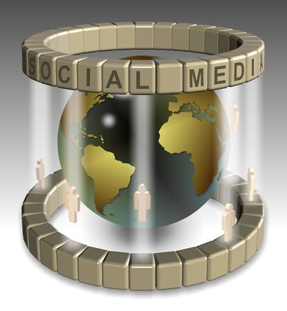 A 3D illustration of a global social media network illustration