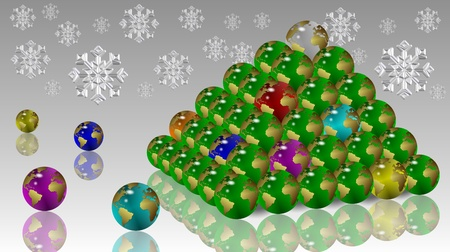 Christmas tree shape made from earth globes with snowflakes in the background photo