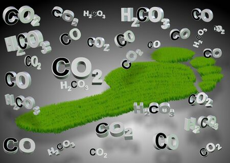 3d carbon: A footprint made from grass with carbon compounds formulas around it