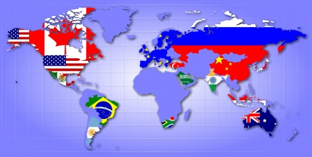 england politics: A map of world showing G20 member countries as their flags