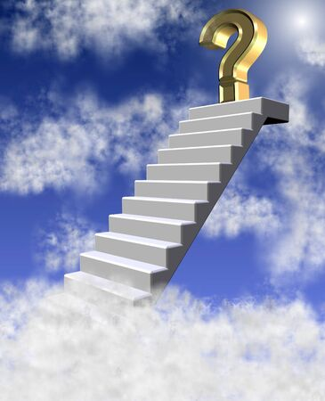 uncertain: Golden question mark on a top of a staircase getting above clouds