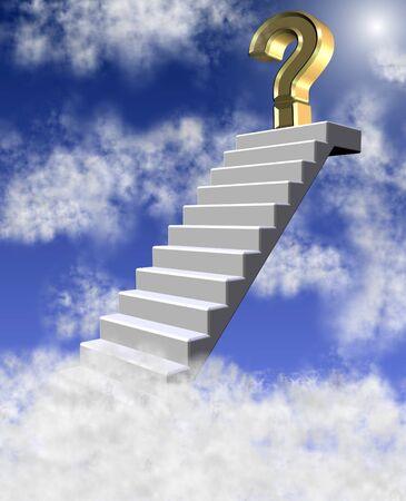 uncertain: Signo de interrogaci�n de oro en lo alto de una escalera de conseguir por encima de las nubes Foto de archivo