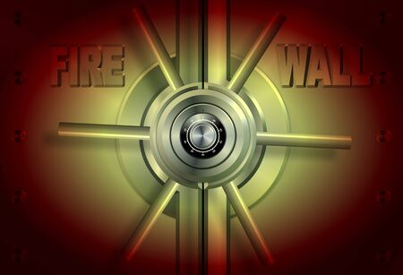 A yellow and red vault with a word firewall on it Stock Photo - 15150031