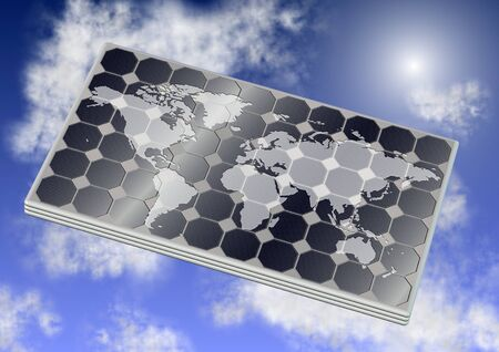 zero emission: A solar panel with world map on it and blue sky in the background