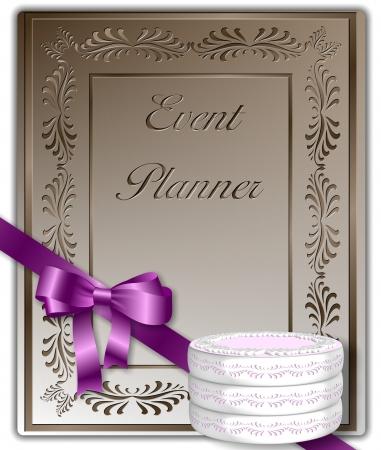 organizer page: Event planner cubierta con una cinta de color rosa y un pastel decorado Foto de archivo