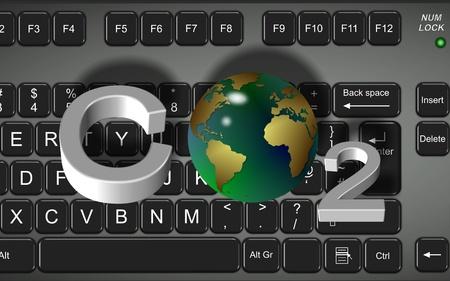 dioxido de carbono: Un teclado y fórmula dióxido de carbono en frente de ella