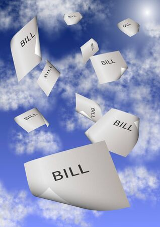 A group of paper bills falling from the sky Stock Photo - 15331441
