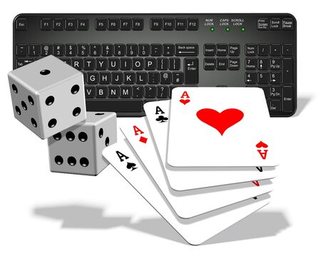 A computer keyboard with dices and playing cards in front of it photo